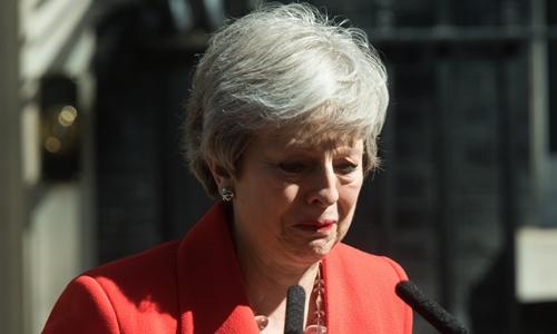 Thủ tướng Anh Theresa May thông báo kế hoạch từ chức tại Londonngày 24/5. Ảnh: Reuters.