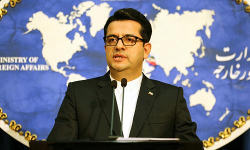 Phát ngôn viên Bộ Ngoại giao Iran Abbas Mousavi phát biểu trong cuộc họp báo tại thủ đô Tehran hôm nay. Ảnh: AFP.