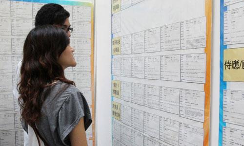 Hai thanh niên Hàn Quốc tìm kiếm thông tin tại một trung tâm xúc tiến việc làm. Ảnh: SCMP.