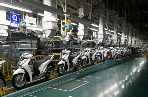 Dây chuyền sản xuất và lắp ráp xe máy của Honda Việt Nam.