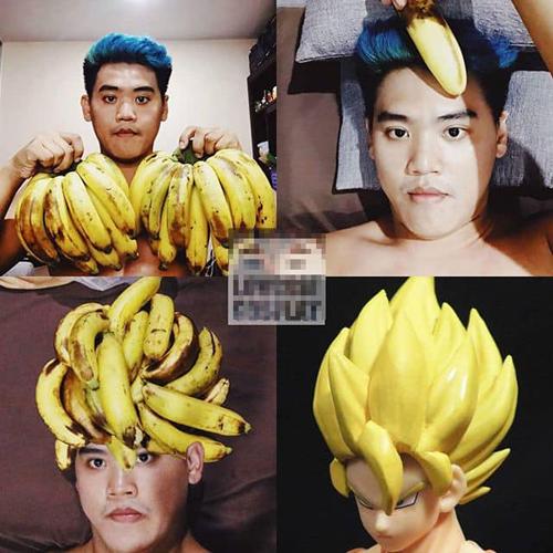 Mái tóc huyền thoại của khỉ con được làm từ chuối.
