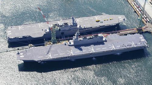 Hai khu trục hạm trực thang lớp Izumo của Nhật. Ảnh: JMSDF.