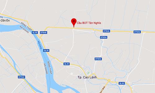 Vị trí cầu BOT Tân Nghĩa.