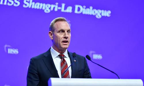 Quyền Bộ trưởng Quốc phòng Mỹ Patrick Shanahan phát biểu tại Đối thoại Shangri-La sáng 1/6. Ảnh: Asia Times.
