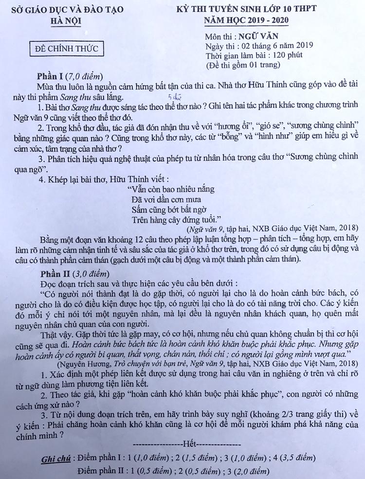 Tác phẩm Sang thu của Hữu Thỉnh vào đề Văn lớp 10 công lập Hà Nội