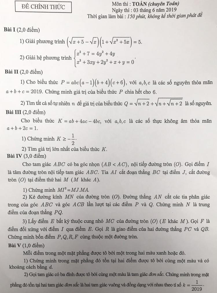 Đề thi Toán vào lớp 10 trường chuyên công lập ở Hà Nội