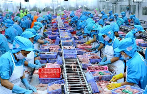 Công nhân Việt Nam chuẩn bị lô hàng cá tra xuất khẩu. Ảnh: Vietnamplus.
