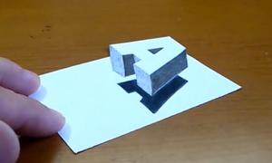 Cách vẽ chữ A 3D lơ lửng trên giấy