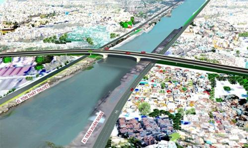 Cầu Nguyễn Khoái được kỳ vọng chia lửa giúp cầu Kênh Tẻ chưa biết khi nào mới khởi công. Ảnh: Sở GTVT TP HCM.
