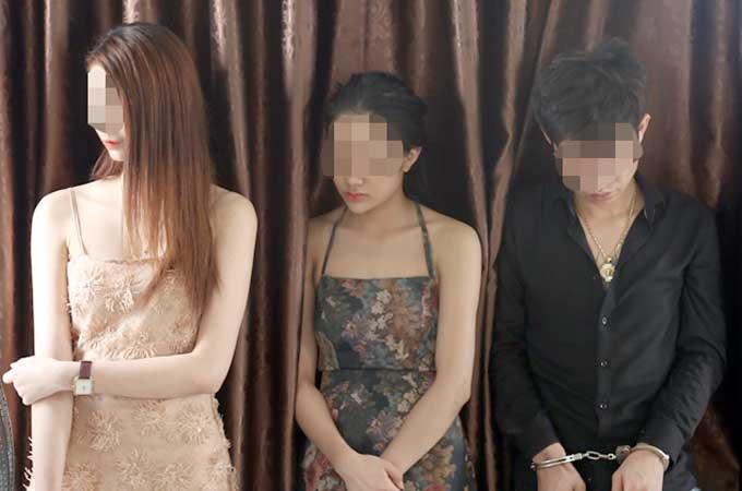 Ba trường hợp bị phát hiện sử dụng ma tuý trong khách sạn. Ảnh: Công an Vĩnh Phúc