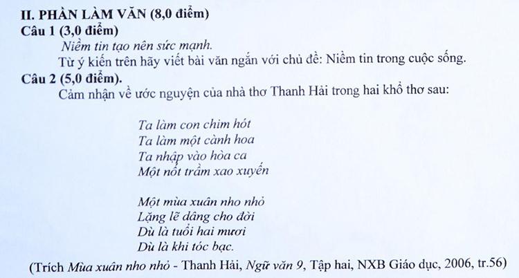 Đề thi vào lớp 10 ở Nghệ An có khổ thơ giống đề khảo sát học kỳ