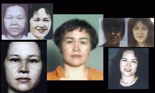 Những lần biến đổi khuôn mặt của Kazuko Fukuda trong quãng thời gian chạy trốn từ năm 1982 đến năm 1997. Ảnh: TBS.