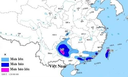 Dự báo mưa bão ở các tỉnh miền nam và miền trung Trung Quốc hôm 11/6. Ảnh: Cục Khí tượng Thủy văn Trung Quốc.