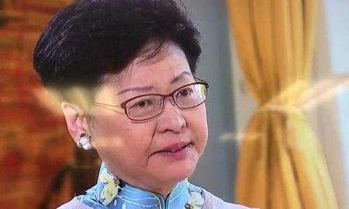 Trưởng đặc khu Hong Kong Carrie Lam trong cuộc phỏng vấn ghi hình sáng nay và phát tối cùng ngày. Ảnh: Shanghaiist.
