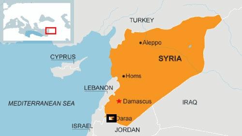 Vị trí thành phố Daraa của Syria. Đồ họa: BBC.