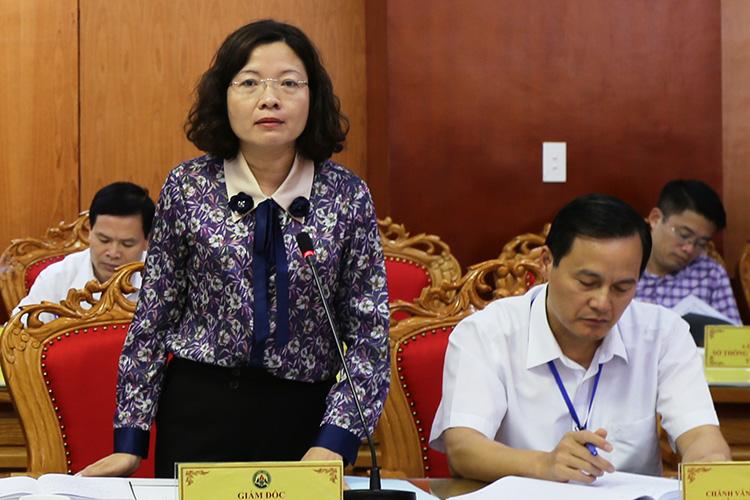 Giám đốc Sở Khoa học và Công nghệLạng Sơn Nguyễn Thị Hà báo cáo về hoạt động giai đoạn 2015-2019.