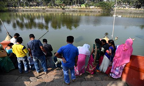 Ao đền ởHayagriva Madhavlà nơi trú ẩn an toàn cho rùa Bostami. Ảnh: AFP.