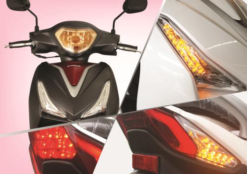 Thiết kế hệ thống đèn trước bằng điện DC, đèn xi nhan trước sau dạng LED cho ánh sáng mạnh, an toàn, tuổi thọ cao.