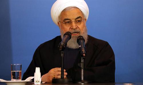 Tổng thống Iran Hassan Rouhani phát biểu trong chuyến thăm Iraq ngày 12/3. Ảnh: Reuters.