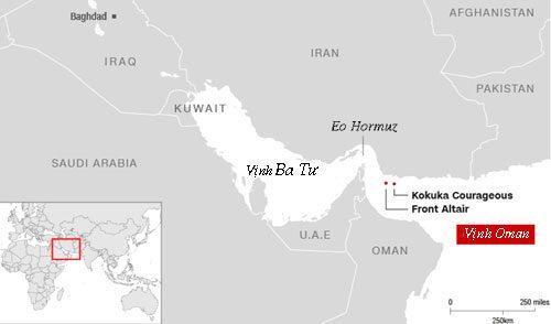 Vị trí hai tàu chở dầu bị tấn công ở Vịnh Oman hôm 13/6. Đồ họa: CNN.