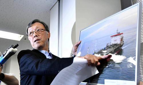 Yutaka Katada, chủ tịch công ty Kokura Sangyo, phát biểu trong cuộc họp báo hôm nay ở Tokyo, Nhật Bản về vụ tấn công tàu dầu trên Vịnh Oman. Ảnh: Reuters.