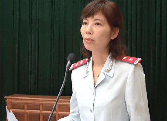 Bà Kim Anh là Trưởng đoàn thanh tra. Ảnh: Huyện Vĩnh Tường