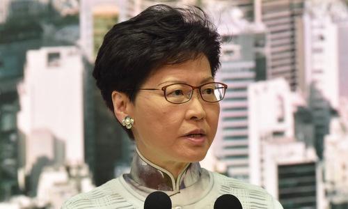 Trưởng đặc khuCarrie Lam trong cuộc họp báo ngày 15/6. Ảnh: AFP.
