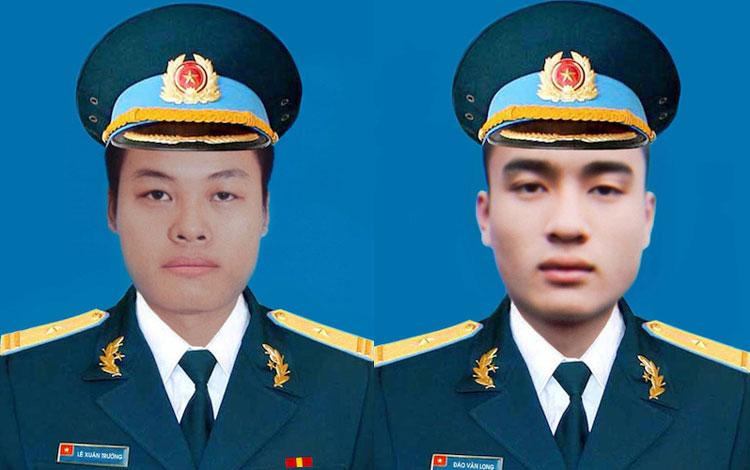 Hai phi công Lê Xuân Trường (trái) và Đào Văn Long hi sinh khi bay huấn luyện ở Khánh Hoà ngày 14/6. Ảnh: BQP