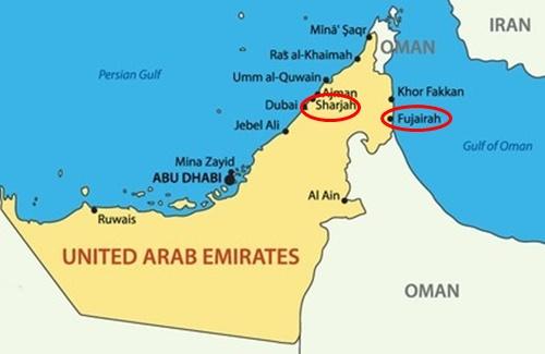 Vị trí của Sharjah và Fujairah. Đồ họa: GT.