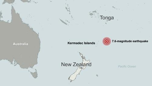 Vị trí xảy ra động đất ở ngoài khơi quần đảo Kermadec, đông bắc New Zealand. Đồ họa: CNN.
