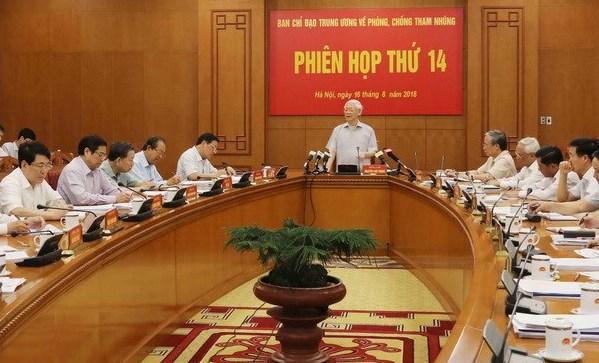 Một phiên họp của Ban chỉ đạo Trung ương về phòng, chống tham nhũng trong năm 2018. Ảnh: TTX