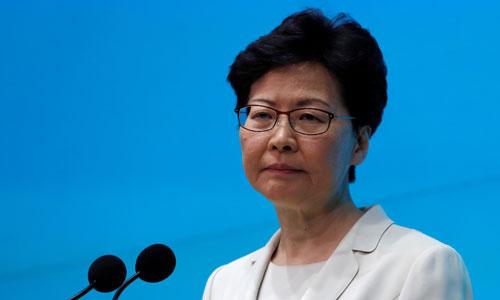 Trưởng đặc khu hành chính Hong Kong Carrie Lam phát biểu tại cuộc họp báo hôm nay. Ảnh: StraitsTimes.