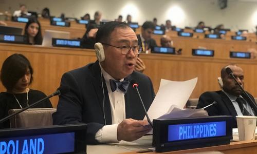 Ngoại trưởng Philippines Locsin phát biểu tại Liên Hợp Quốc hôm 17/6. Ảnh: Bộ Ngoại giao Philippines.