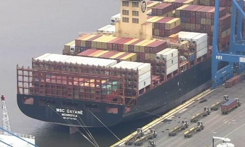 Tàu MSC Gayane đậu tại cảng Packer Marine Terminal hôm 18/6. Ảnh: ABC News.