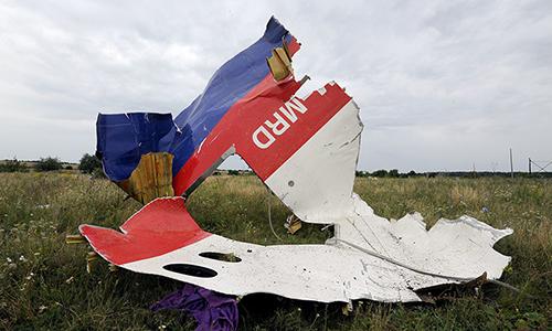 Một mảnh vỡ của chiếc máy bay MH17 bị bắn rơi ở đông Ukraine. Ảnh:AFP.