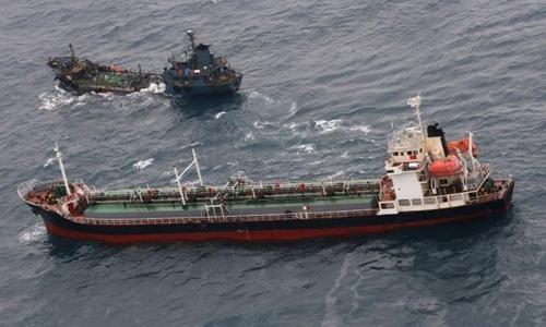 Tàu chở dầu Saitherol của Triều Tiên. Ảnh: Bộ Quốc phòng Nhật Bản.