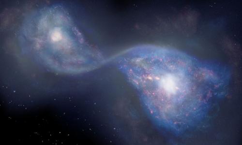 Minh họa hai thiên hà sáp nhập thànhB14-65666.  Ảnh: NAOJ.