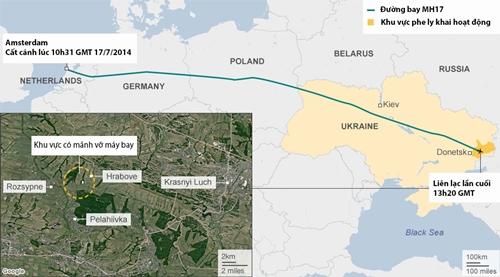 Vị trí rơi của MH17 tháng 7/2014. Đồ họa: BBC,