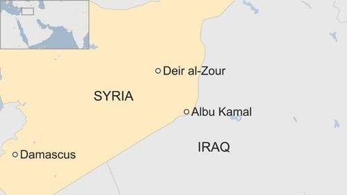 Vị trí thành phố Albu Kamal của Syria. Đồ họa: BBC.