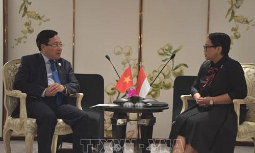 Phó thủ tướng Việt Nam Phạm Bình Minh, trái, cùng Ngoại trưởng Indonesia. Ảnh: TGVN.