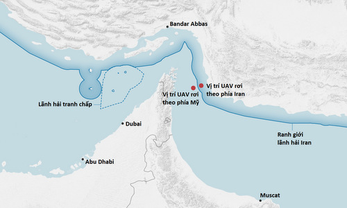 Vị trí UAV bị bắn rơi theo phía Mỹ và Iran. Đồ họa: New York Times.