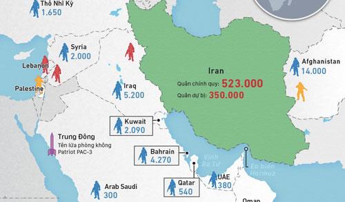 Tương quan lực lượng quân sự Mỹ - Iran tại Trung Đông. Bấm vào ảnh để xem chi tiết.