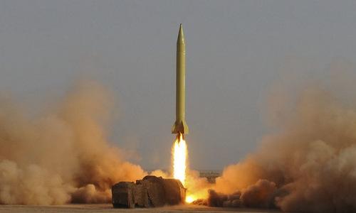 Tên lửa Shahab-3 bắn thử hồi năm 2017. Ảnh: IRNA.