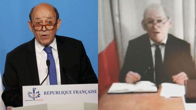 Bộ trưởng Pháp (trái) và kẻ mạo danh đeo mặt nạ qua cuộc gọi video. Ảnh: Getty.