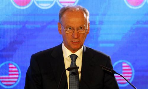 Giám đốc Hội đồng An ninh Quốc gia Nga Nikolai Patrushev phát biểu tại hội nghị ở Jerusalem hôm nay. Ảnh: AFP.
