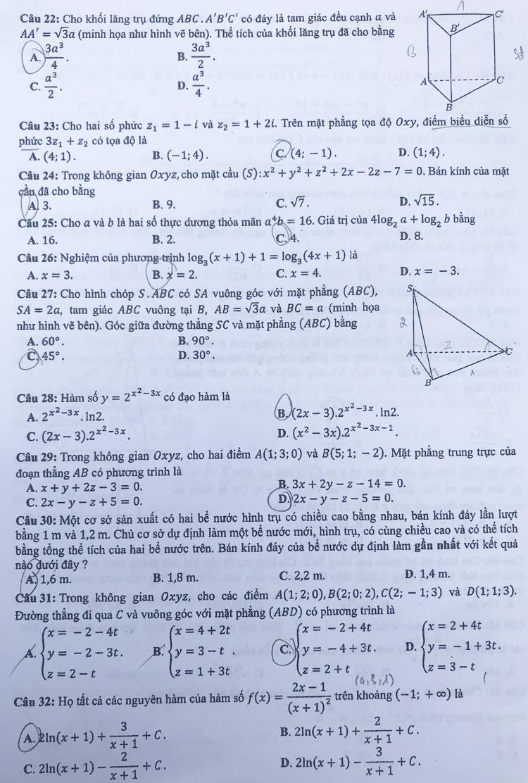 Đề và đáp án môn Toán thi THPT quốc gia - 2