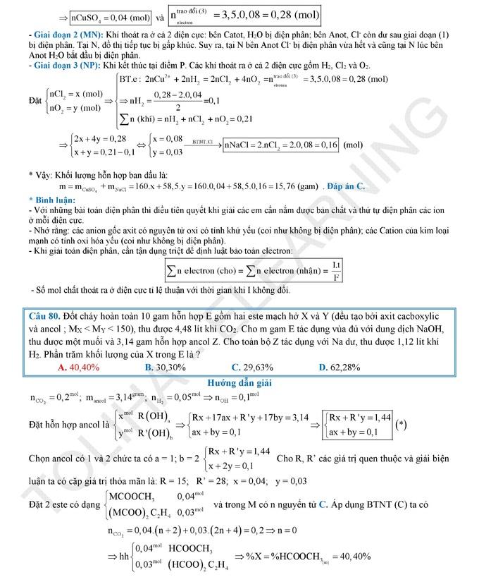 <p> Lời giải do tổ Hóa học của Toliha Elearning thực hiện.</p>
