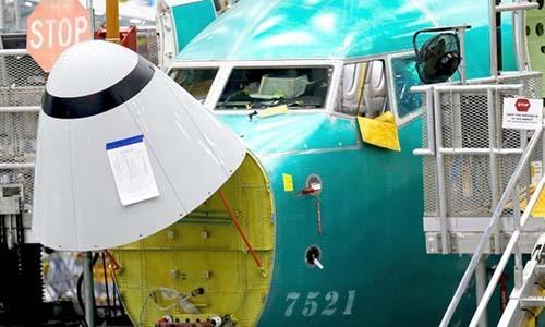 Góc cảm biến ở phần đầu một chiếc máy bay737 Max tại nhà máy của Boeing ở Renton, Washington, Mỹ ngày 27/3. Ảnh: Reuters.