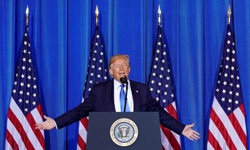 Tổng thống Mỹ Donald Trump trả lời họp báo tại hội nghị thượng đỉnh G20 ở Osaka, Nhật Bản hôm nay. Ảnh: Reuters.