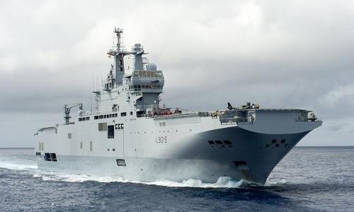 Tàu sân bay trực thăng Dixmude của hải quân Pháp. Ảnh: Defpost.